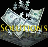Business solutions. A 100 and 50 dollar bill float down with puzzle pieces falling into place. Concept for finding solutions in the business or financial arena royalty free stock images