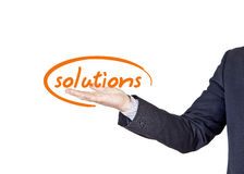 Business solutions. Businessman who offers solutions for companies Royalty Free Stock Photography
