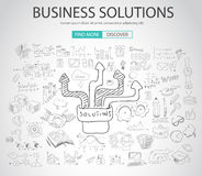 Business Solutions concept  with Doodle design style Royalty Free Stock Images