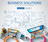 Business Solutions concept  with Doodle design style :finding solution. Brainstorming, creative thinking. Modern style illustration for web banners, brochure Royalty Free Stock Photos