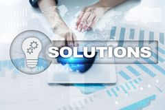 Business solutions concept on the virtual screen.  Stock Photography