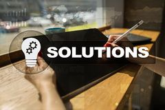 Business solutions concept on the virtual screen.  Royalty Free Stock Photography