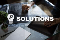 Business solutions concept on the virtual screen Royalty Free Stock Photo