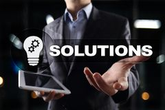 Business solutions concept on the virtual screen. Business solutions concept on the virtual screen Stock Photography