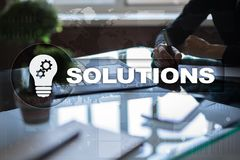 Business solutions concept on the virtual screen. Business solutions concept on the virtual screen Royalty Free Stock Photo