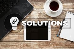 Business solutions concept on the virtual screen. Business solutions concept on the virtual screen Royalty Free Stock Photos