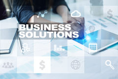 Business solutions concept on the virtual screen. Business solutions concept on the virtual screen Stock Photos