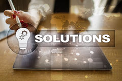 Business solutions concept on the virtual screen. Business solutions concept on the virtual screen Royalty Free Stock Photography