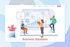 Business solutions. Consulting, project management, financial report and strategy team.Flat vector illustrtion. Business solution. Consulting, project management Royalty Free Stock Photography