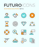 Business solutions futuro line icons. Line icons with flat design elements of customer service, client support, success business management, teamwork cooperation Stock Image