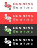 Business Solutions Logo Design. Graphic symbol, combined from two zig-zag arrows. I've used my own original font Stock Photo