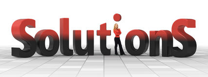Business solutions metaphore. Business woman puts the dot on the i - She's got the solution Royalty Free Stock Photo