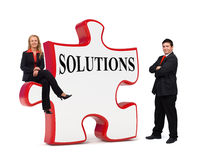 Business solutions puzzle board Royalty Free Stock Photo