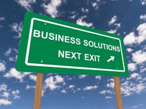 Business solutions. A traffic sign with the text business solutions next exit and an arrow Stock Images