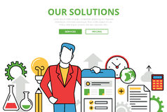 Business Solutions vector flat line art infographics banner Royalty Free Stock Image
