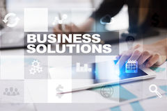 Business solutions on the virtual screen. Business concept. Royalty Free Stock Photo