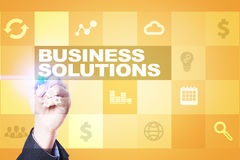 Business solutions on the virtual screen. Business concept. Business solutions on the virtual screen. Business concept Royalty Free Stock Photo