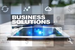 Business solutions on the virtual screen. Business concept.  Stock Images