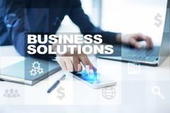Business solutions on the virtual screen. Business concept.  Stock Photography