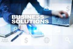 Business solutions on the virtual screen. Business concept Stock Photo