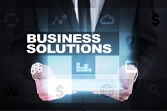 Business solutions on the virtual screen. Business concept.  Royalty Free Stock Image