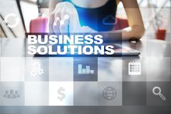 Business solutions on the virtual screen. Business concept.  Stock Photos