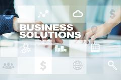 Business solutions on the virtual screen. Business concept.  Royalty Free Stock Images