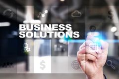 Business solutions on the virtual screen. Business concept. Business solutions on the virtual screen. Business concept Royalty Free Stock Images