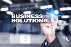 Business solutions on the virtual screen. Business concept. Business solutions on the virtual screen. Business concept Stock Photography