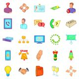 Business spam icons set, cartoon style. Business spam icons set. Cartoon set of 25 business spam vector icons for web isolated on white background Royalty Free Stock Image