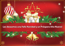 merry christmas and happy new year spanish greeting card stock