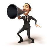 Business speaker. With a megaphone, 3d generated picture Royalty Free Stock Images