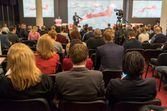 Business. Speaker at Business Conference and Presentation. Audience in the conference hall. Business and Entrepreneurship royalty free stock photo