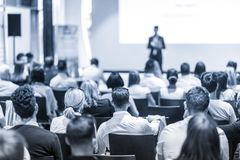 Business speaker giving a talk at business conference event. Stock Images