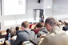 Business speaker giving a talk at business conference event. Royalty Free Stock Photography