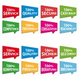 Business Speech Bubbles - Colorful English And German Vector Icons. With Shadow Stock Image