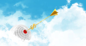 Business sphere. Clouds goal. Golden arrow - Royalty Free Stock Images