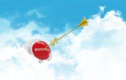 Business sphere. Clouds goal. Golden arrow - Stock Photos