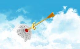 Business sphere. Goal. Golden arrow - euro Royalty Free Stock Photos