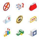 Business sphere icons set, isometric style Royalty Free Stock Photography