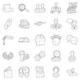 Business sphere icons set, outline style. Business sphere icons set. Outline set of 25 business sphere vector icons for web isolated on white background Royalty Free Stock Images