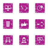 Business spirit icons set, grunge style. Business spirit icons set. Grunge set of 9 business spirit vector icons for web isolated on white background Royalty Free Stock Image