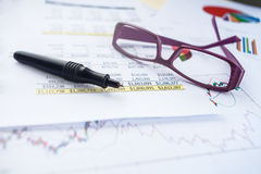 Business on spreadsheet Stock Photo
