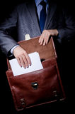 Business spy with briefcase Royalty Free Stock Photo
