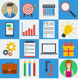 Business square 16 icons. Vector set 16 SEO business icons on square form. Web infographics Royalty Free Illustration