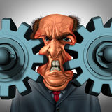 Business Squeeze. And company trouble concept as a businessman or boss stuck between two gears or cog wheels resulting in a painful technology and management vector illustration