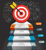 Business staircase conceptual infographics. Target with arrow and doodles icons. Can be used for workflow layout, banner, diagram, web design, infographic Royalty Free Stock Photos
