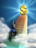 Business stairs. Businessman climbs some stairs leading to a giant dollar symbol. Digital illustration Royalty Free Stock Photography