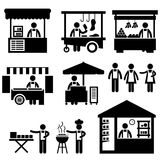Business Stall Store Booth Market Marketplace. A set of pictogram representing marketplace, ships, and store Royalty Free Stock Photography