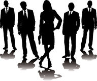 Business stance. A collection of business people in mono silhouette with a gradient shadow Stock Photography
